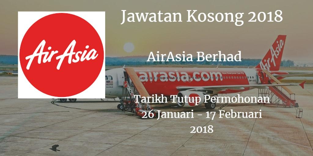 Jawatan Kosong AirAsia Berhad 26 Januari - 17 Februari 2018