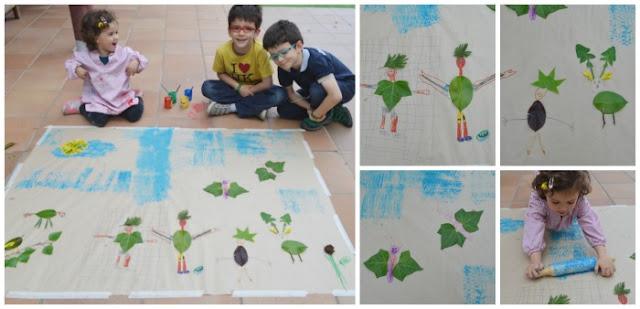 manualidad infantil creativa primavera: crear dibujos con hojas y plantas