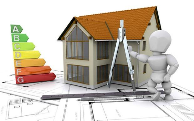 casa stilizzata con mappa casa, compasso, simboli consumo energetico.