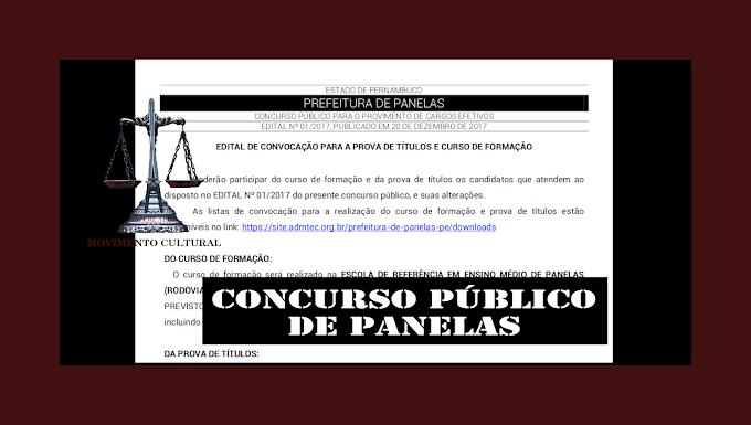 CONCURSO PÚBLICO DE PANELAS - EDITAL DE CONVOCAÇÃO PARA A PROVA DE TÍTULOS E CURSO DE FORMAÇÃO
