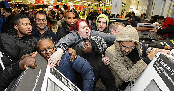 Low income families shopping on Black Friday