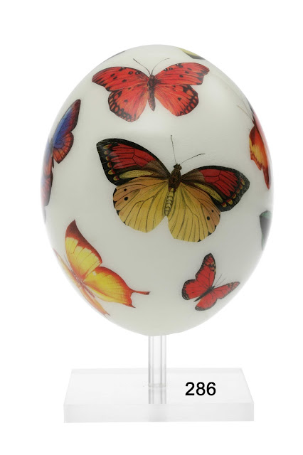 Ostrich Eggs Decoupage - Butterly