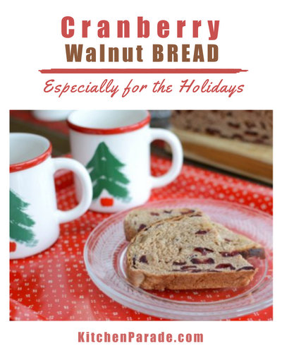 Cranberry Walnut Bread ♥ KitchenParade.com, special for the holidays, a European-style, barely sweet yeast bread studded with dried cranberries and toasted walnuts. Recipe, insider tips, nutrition and Weight Watchers points included.
