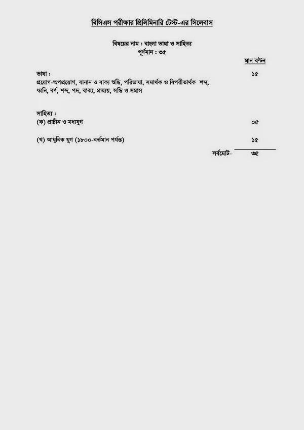 35th BCS Preliminary Exam Syllabus :: chakrirkhabar