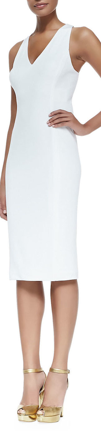 Ralph Lauren Black Label  Luxe Matte V-Neck Dress in White