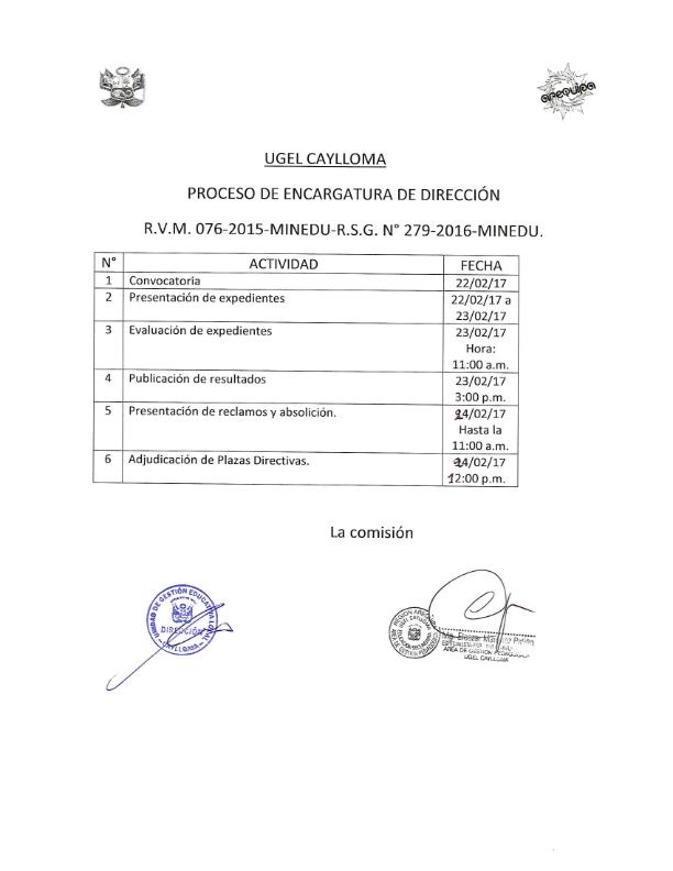 Convocatoria para encargatura de direccion ugel caylloma for Convocatoria para docentes