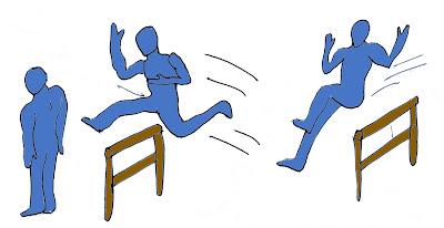 Salto alto atletismo juego carrera obstáculo relevo