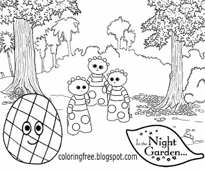Haahoos cartoon easy kids playgroup activities novice coloring pages in the night garden drawing inspiration