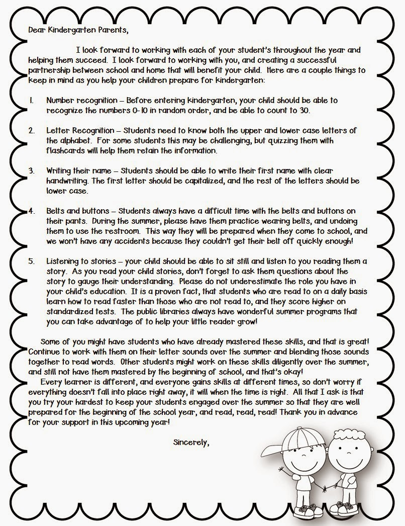 Mrs. B's Beehive - Parent Letter for next year