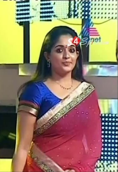 Kavya Madhavan Hot Navel Photos IN Red Saree In Award