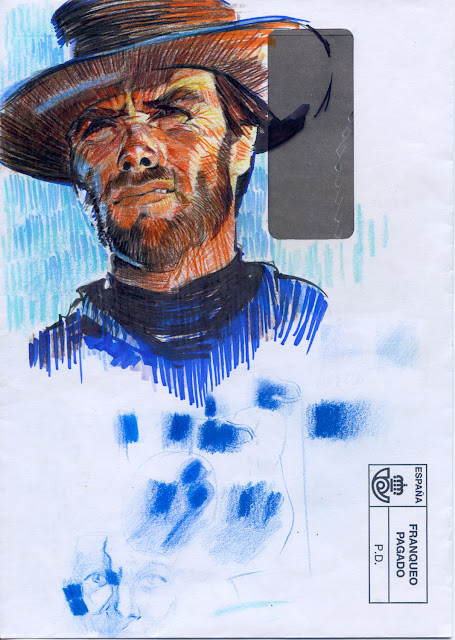 Clint Eastwood, pintado con Copic Markers.
