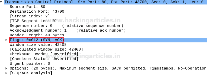 Analysing TCP Headers using Wireshark