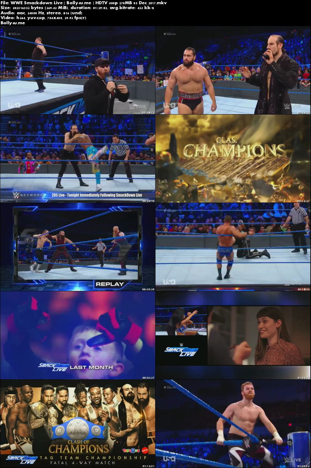 WWE Smackdown Live HDTV 480p 250MB 05 Dec 2017 Download
