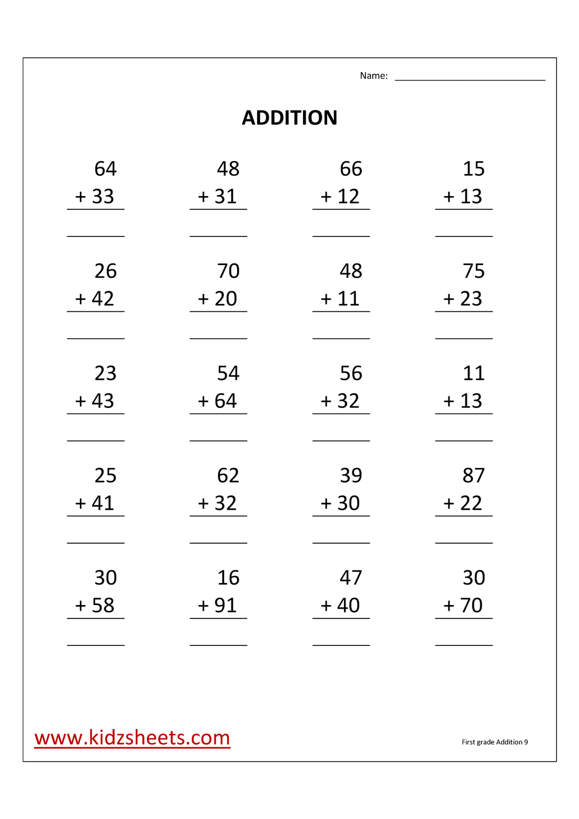 Kidz Worksheets First Grade Addition Worksheet9