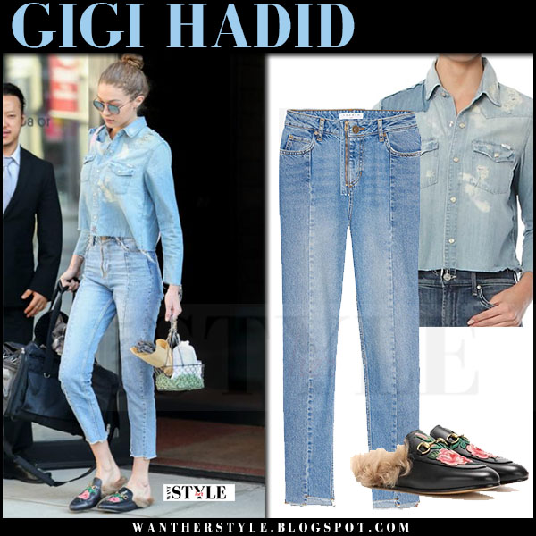 Gigi Hadid in denim mother shirt, cropped sandro jeans and fur lined mules what she wore april 2017