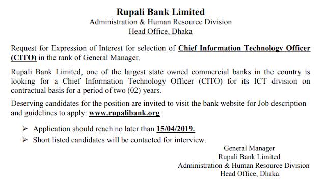 Job Circular 2019-Rupali Bank Limited Image