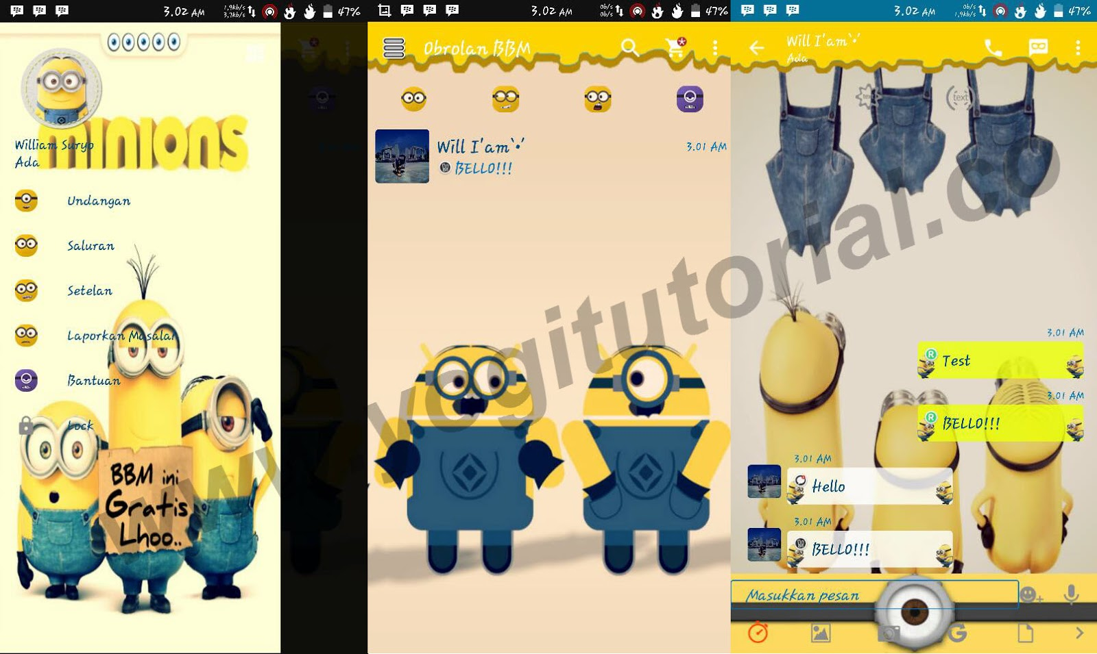 Download BBM Mod Minions V 21209 Apk Clone FREE For ANDROID
