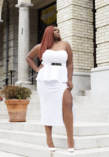 The Edge Peplum Dress All White Party Pop Up Plus