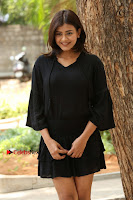 Actress Hebah Patel Stills in Black Mini Dress at Angel Movie Teaser Launch  0075.JPG