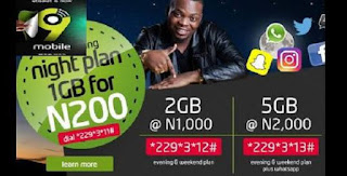 9mobile's latest night data plans (N50 for 250MB, N200 for 1GB, N1000 for 2GB and N2000 for 5GB)