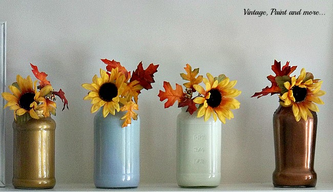 Vintage, Paint and more... metallic painted jars with sunflowers used on a fall mantel