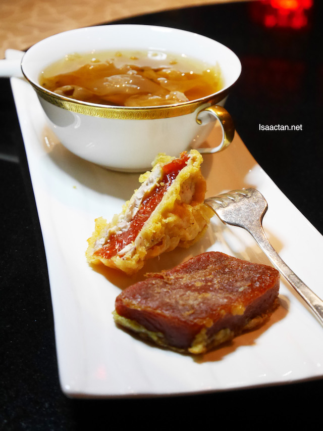 "End your CNY meal with New Year ""Nian Gao"" Dual variation and Double Boiled White Fungus with Longan and Sea Coconut"