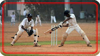 This image is about boys playing cricket one is doing the bating and other is doing wicket keeping