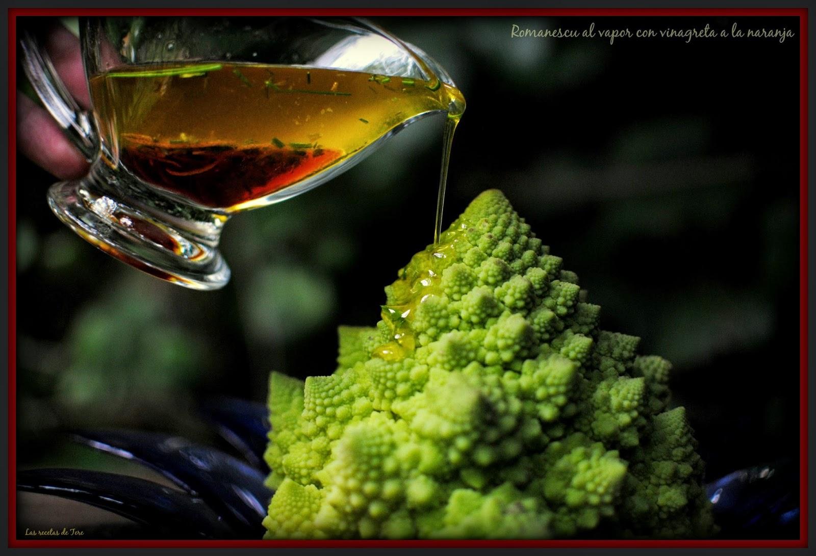 Romanescu al vapor con vinagreta a la naranja tererecetas 01