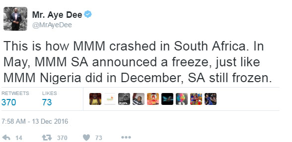 See photos: MMM Nigeria is crashing exact way MMM South Africa collapsed - Aye Dee