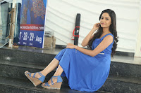Divya Nandini stunning Beauty in blue Dress at Trendz Exhibition Launch ~  Celebrities Galleries 025.JPG