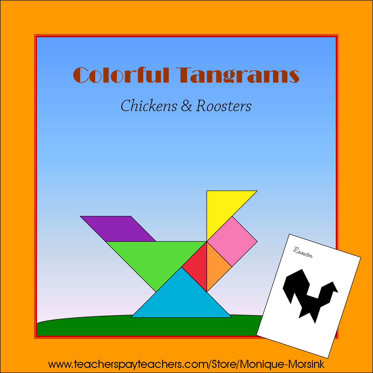 Colorful Tangrams Chickens Roosters And Turkeys