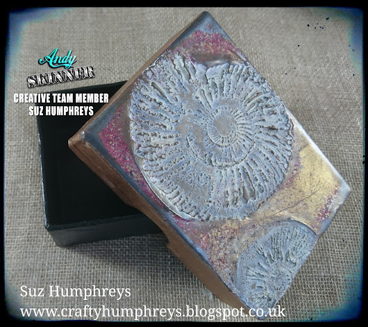 Ammonit Box using the new Andy Skinner Fossil stamp set and Stampendous Enamels