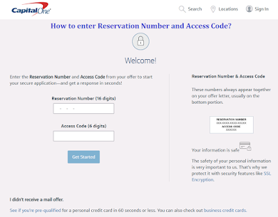 Enter Getmyoffer.capitalone Reservation Number and Access Code