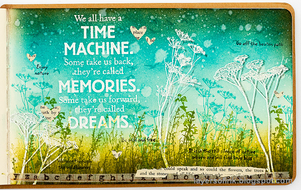 Layers of ink - Time Machine Art Journal Page Tutorial by Anna-Karin Evaldsson. With stamps by Darkroom Door.