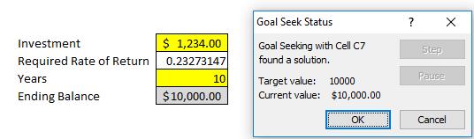 goal seek analysis