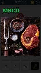 На столе лежит кусок сочного мяса, рядом вилка, соль и разная приправа для приготовления