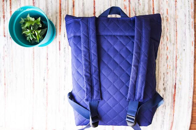 plecak, szycie, granatowy plecak