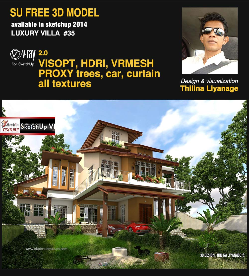 3d sketchup model modern villa #35  vray render by Thilina Liyanage