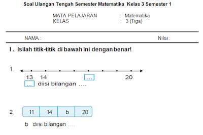 Soal Ulangan UTS Matematika KTSP Kelas 3 Semester 1/ Ganjil Terbaru 2016 - 2017