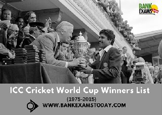 ICC WORLD CUP WINNERS