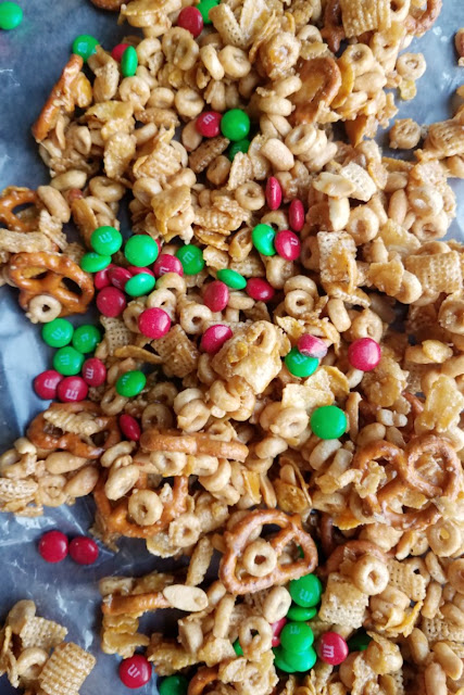 sweet and salty snack mix with m&ms mixed in