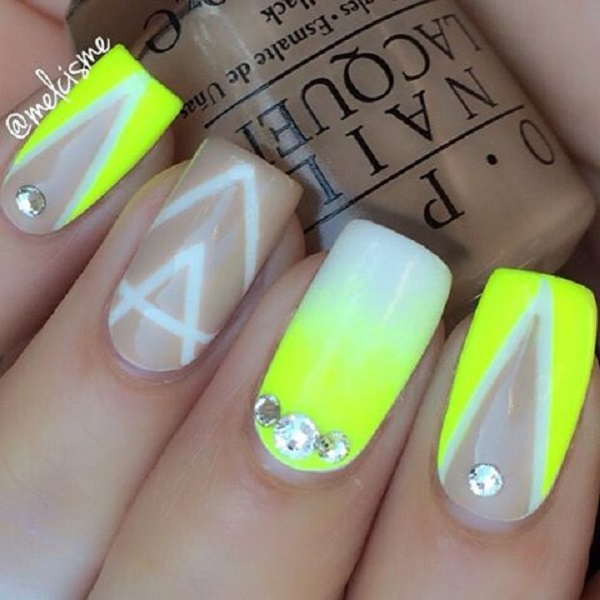 Abstract Themed Yellow Nail Art Design This Uses White And Light Colors To Give Out That Wonderful Gradient Effect