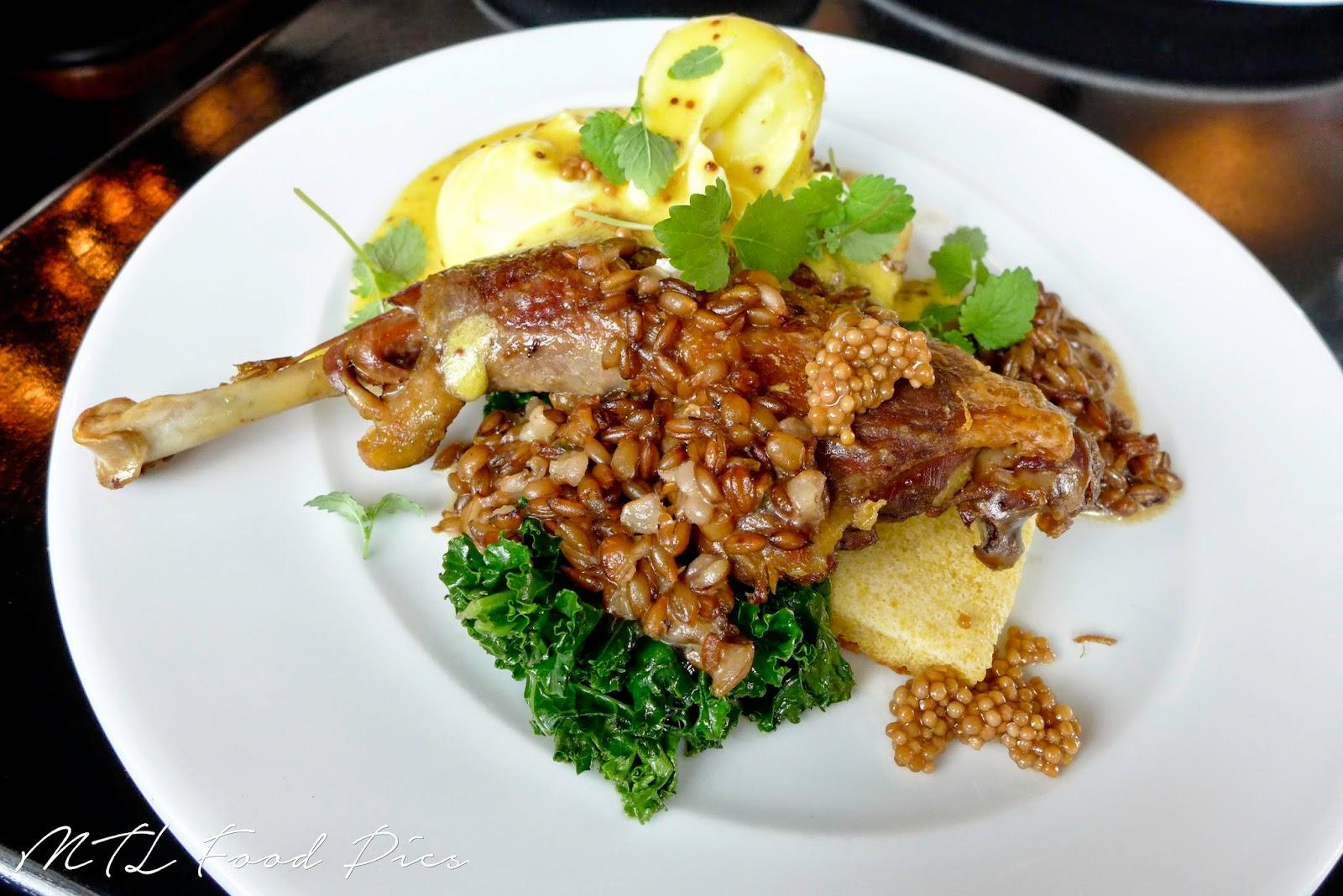 guinea fowl confit, polenta, international restaurant