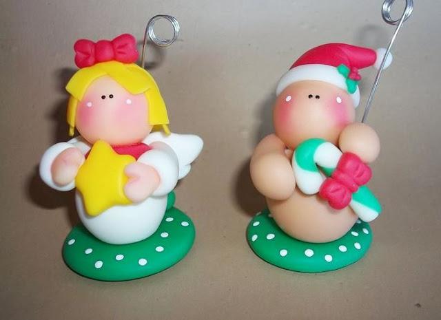 otros asdornos de Navidad hechos en casa con porcelana fría