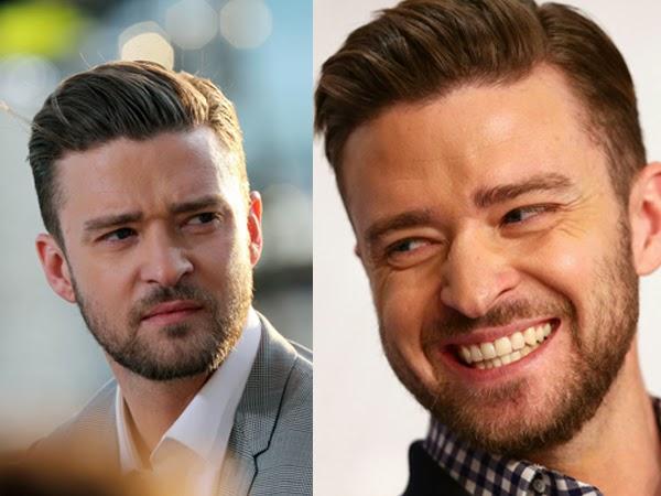 41f8bdb15 Justin Timberlake, com corte mais curto, bem baixo nas laterais e com  barba, Show!