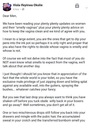 Facebook user, Viola Ifeyinwa Okolie dedicated this letter to Nigerian men, especially those on social media who are 'smelly vagina' counselors.