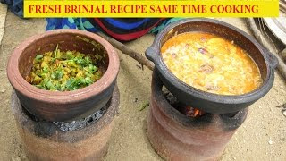 Fresh Brinjal Cooking Fry and Curry Recipe | Same Time Cooking Two Variety | VILLAGE FOOD