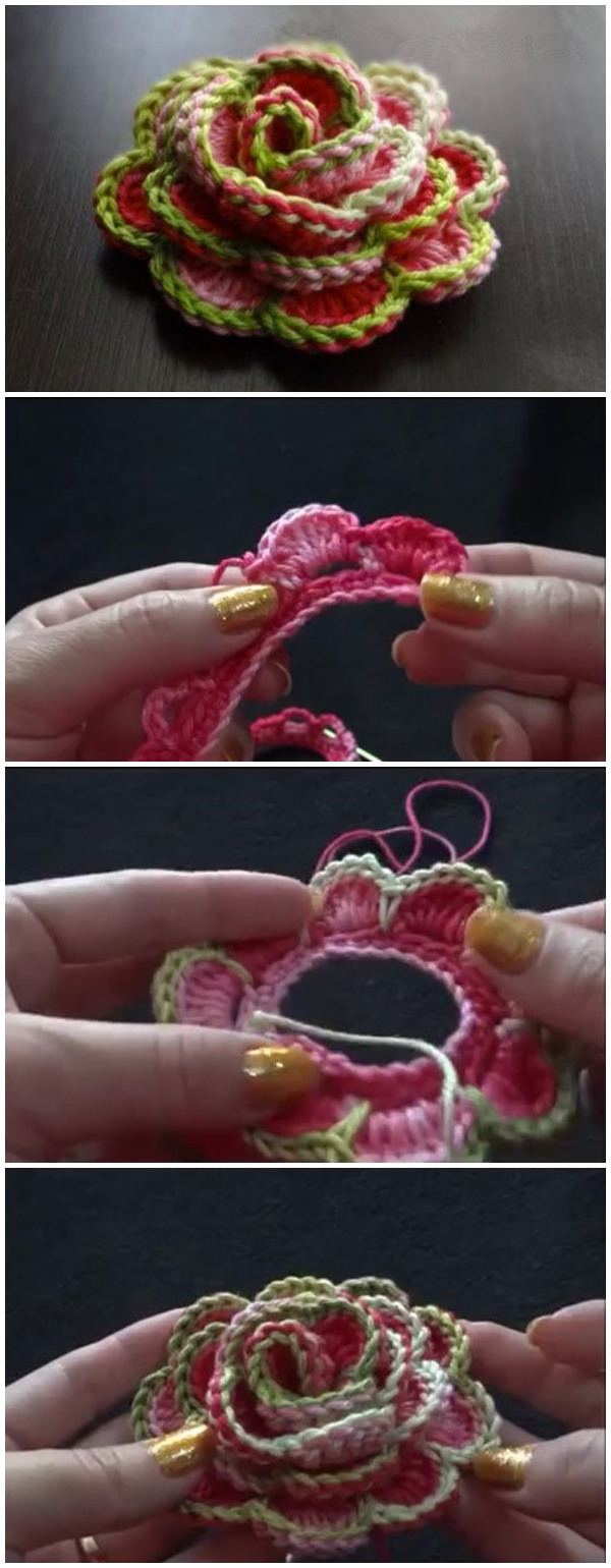 3D Crochet Flower Rose Tutorial