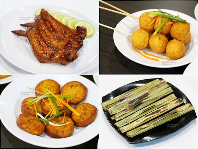 Chicken Wings (RM12), Deep Fried Fish Balls (RM14), Muar Otak-Otak (RM10), Thai Fish Cake (RM14)