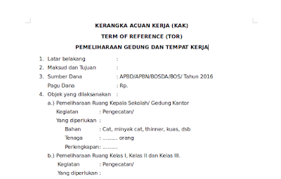 Download Contoh Kerangka Acuan Kerja (KAK) Term Of Reference (TOR) Kegiatan Pemeliharaan Gedung Tempat Kerja Sekolah format odt docx